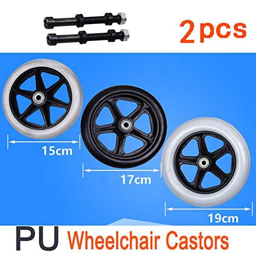 Rollstuhlrollen Rollstuhl Vorderräder | Paar Von 2 | 6in, 7in, 8in Mit Stahlrahmen Lager Rollstuhl Roller Wagen Rad Rollenrolle, Grau, Schwarz
