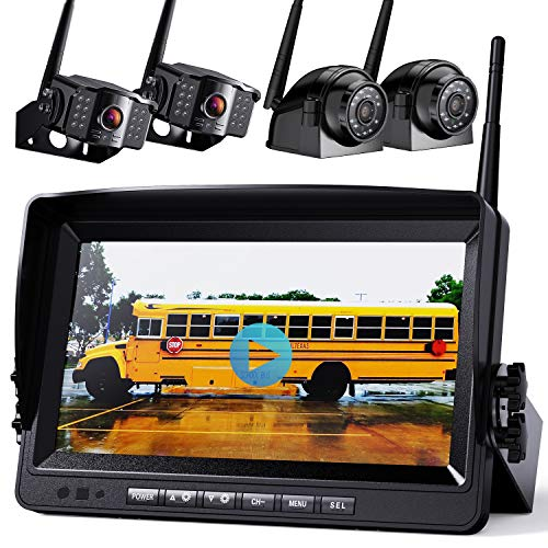 """1080P Wireless Backup Camera w/ Built-in Recorder 9"""" FHD Monitor, Front Rear Side View Reversing Camera + Extra Stable Signal IP69 Monitor System for Truck RV Trailer Bus Motorhome Camper, Xroose WX4"""