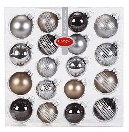 Inge Glas 15090K418 zestaw szklanych kulek, 10 bombek o średnicy 5 cm, 8 bombek 6 cm, jednolite i dekoracyjne, Urban Graphic Mix (cyna, szarobrązowa, granit)