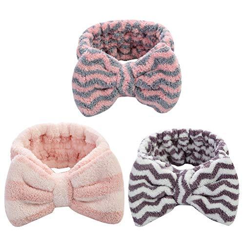 Lurrose 3pcs Coral Fleece Bowknot Elástico Suave Diademas Para Lavado De La Cara Ducha Spa (Rosa Raya Púrpura Azul Ondas Blancas)