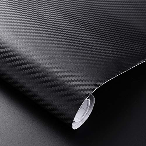 WINOMO 3D Carbon Fiber Car Wrap Roll Self- adhesive DIY Sticker for Motorcycle Auto Vehicle Decor