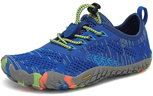 SAGUARO Kinder Barfußschuhe Traillaufschuhe JungenMädchen Trainingsschuhe Zehenschuhe Atmungsaktiv rutschfest Walkingschuhe Laufschuhe Schnell Trocknend Badeschuhe, Blau 35 EU