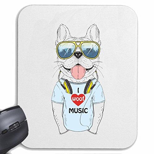 Reifen-Markt Mousepad FUNNY PUG met koptelefoons en zonnebril hond BREEDING huis honden KENNEL BREEDERS PUPPY TRAINING zorg voor uw laptop, notebook of PC internet (met Windows Linux, etc.) wit