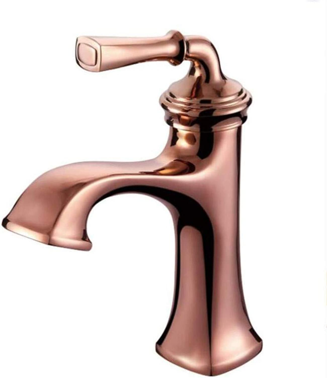 360° redating Faucet Retro Faucetpink gold Bathroom Basin Faucet Deck Mounted Single Handle Brass