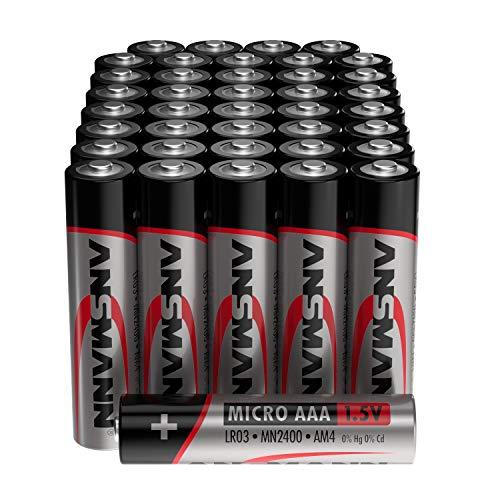 ANSMANN Batterien AAA Alkaline Größe LR03 - AAA Batterie für Küchenwaage (40 Stück Vorratspack) Design kann abweichen