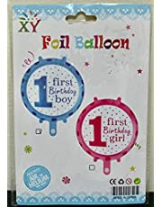 1st Happy Birthday Baby Boy or Girl Balloons, Kids Memorable Party Supplies Banner Decorations, Foil Latex Inflatable Balloon Props Activity 12 Months Old Celebration, 1 Big 36'' (Baby Boy A)