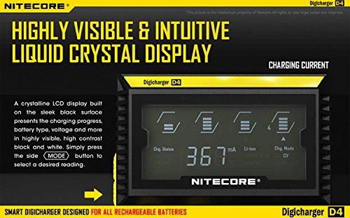 Nitecore D4 4 Slot Smart Battery Charger for Li-ion, IMR, LiFePO4 26650 18650 18350 16340 RCR123 14500 Ni-MH Ni-Cd AA AAA AAAA C Batteries w/ 8 x EdisonBright Ni-MH Rechargeable AA Batteries Bundle