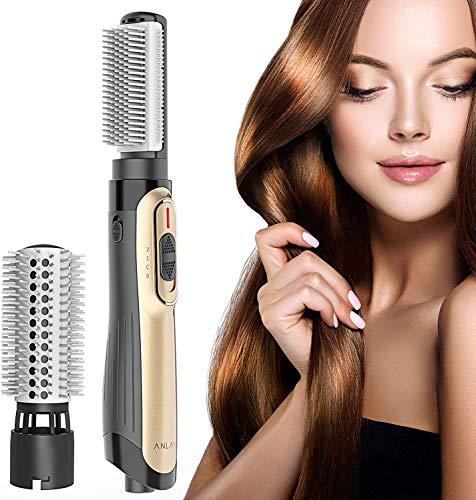 ANLAN Big Hair Dual Warmluftbürste, mit Ionen-Technologie, 2 Aufsätze,Multifunktions Hair Styler &Volumizer Heißluftbürste Negativer Ionenfön Föhn Lockenwickler für alle Haartypen