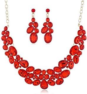 SHANGZHIQIN Moda Cristallo di Fascia Alta Stile Lungo, Orecchini Sposa Nuova Collana 2 Pezzi Set Rosso