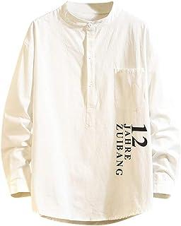 DAY8 Camicetta Uomo Eleganti Camicia Vintage Uomo Slim Fit Manica Lunga Camicie Uomo Maniche Lunghe Classiche Taglie Forti Camicette Uomo Casual Cerimonia Top Stampata