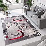 TAPISO Dream Alfombra Salón Comedor Dormitorio Moderno Gris Oscuro Rojo Blanco Abstracto Bordura Fina Suave 160 x 220 cm