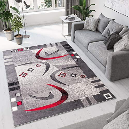 TAPISO Dream Tapis de Salon Chambre Design Moderne Gris Rouge Crème Géométrique Ondes Fin Doux Poil Court 140 x 200 cm