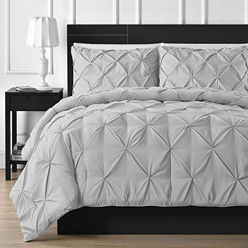 Splitsvilla Pinch Pleated 1 Piece Duvet Cover Set 100% Egyptian Cotton 800 Thread Count with Zipper & Corner Ties Tuffed Pattern Decorative (Silver,Oversized King (1 Piece))