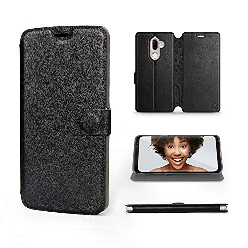 Mobiwear   Echt Lederhülle   Kompatibel mit Nokia 7 Plus, Made in EU handyhülle, Slim Leather Hülle, Premium Flip Schutzhülle, Transparent TPU Silicon, Book Style, Tasche - Schwarzes Leder