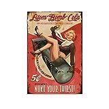 Vintage Coca-Cola Ads Atom Bomb Cola Nuke Your Thirst Impresión Estética Arte de Pared Cuadro Colgante Cuadro Cuadro para Habitación Dormitorio 60 x 90 cm