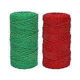 ANWING Cordón de algodón de macramé natural de 200 m, cuerda de 3 mm x 110 yardas, cuerda de algodón para manualidades, colgador de plantas de Navidad, decoración de boda (rojo, verde)