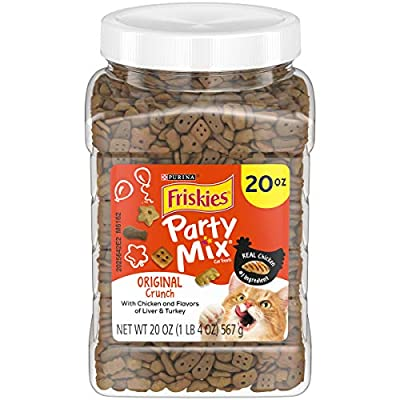 Purina Friskies Made in USA Facilities Cat Treats, Party Mix Original Crunch - 20 oz. Canister
