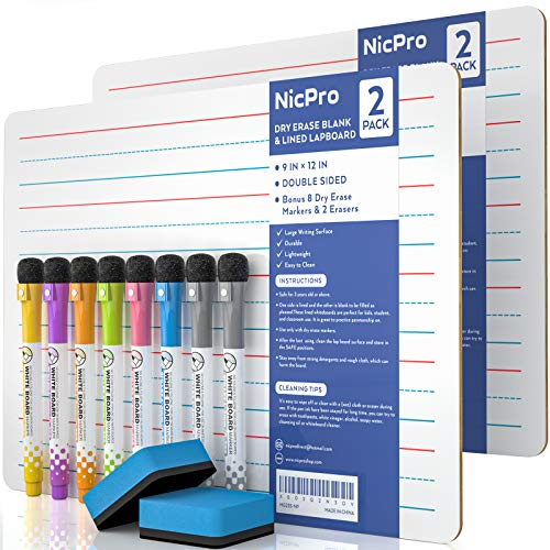Nicpro Dry Erase Lap Board 9 x 12 inches 2 Pack Ruled Kid Double Sided Blank & Lined Small Lapboard with 8 Pens, 2 Eraser, Learning Mini Whiteboard Portable for Student and Classroom Use