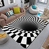 Rectangle 3D Area Rug,Optical Illusion Carpet Trap Effect Floor Mat for Indoor Home Living Room Dorm 3D Rug Anti-Skid Area Rugs Black White Doormat