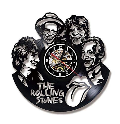 """XZXMINGY Reloj de Pared de Disco de Vinilo Diseño Moderno Tema de la música The Rolling Stone Band Relojes Colgantes Reloj de Pared Vintage Decoración para el hogar Silent 2 12""""/30cm"""