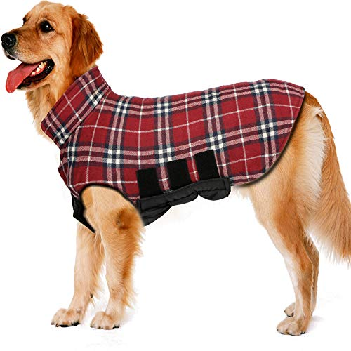 TPYQdirect Dog Jacket Waterproof Coat Windproof Pet Vest Warm Puppy Clothes Reversible British Style Plaid Winter Coats Cold Weather Jackets Sweater for Extra Small Dogs, Red XS