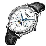 Mens Wrist Watch, Quartz Watches Men's Wristwatch Moon Phase Day Date Calendar Leather Strap 5ATM...