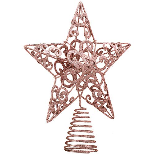 Aneco 10' Metal Glittered Christmas Tree Topper Star Treetop Decoration for Christmas Home Decor (Rose Gold, 10 Inches)
