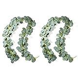Jobary 2 Pezzi Artificiali Ghirlanda Eucalipto Foglie Pianta, Eucalyptus Pianta Finta Ghirlanda Rampicante Verde Foglie Finte per Cucina di Casa Giardino Ufficio Decorazione della Parete di Nozze