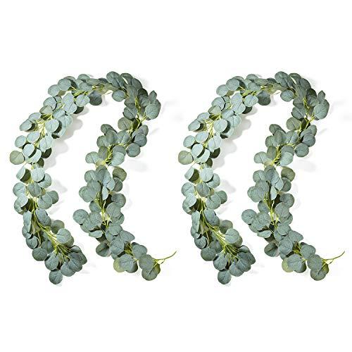 Jobary 2 Stück Künstliche Eukalyptus Girlande Künstlich Pflanze Eukalyptus Blätter Deko Girlande Hochzeit Eukalyptus Kranz für zu Hause Küchen Garten Büro Hochzeit oder als Wanddekoration