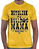 HARIZ - Maglietta da uomo, motivo: bulldog, con biglietto regalo Oro giallo. M
