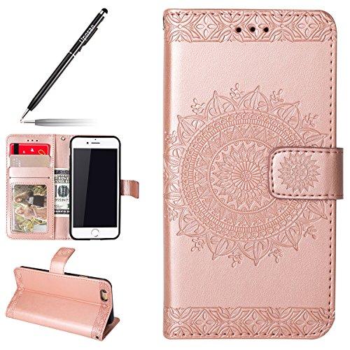 Uposao Hülle Kompatibel mit iPhone 6s Plus 5.5 Handyhülle, Lederhülle Ledertasche Bookstyle Schutzhülle Ultra Dünn Klapphülle Brieftasche Flip Wallet Case Cover mit Standfunktion,Rose Gold