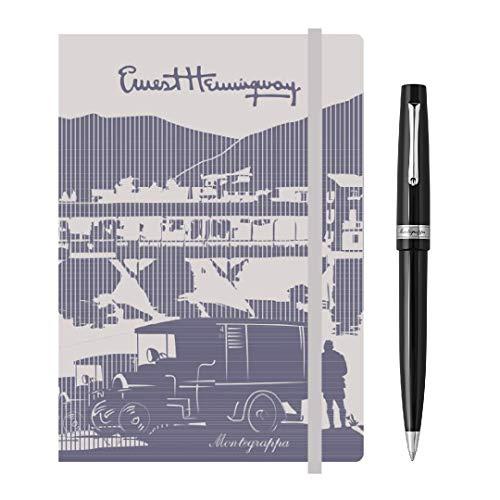 Kit scrittura Penna + Notebook MONTEGRAPPA Armonia Sfera a Rotazione, Nero + notebook Hemingway con elastico