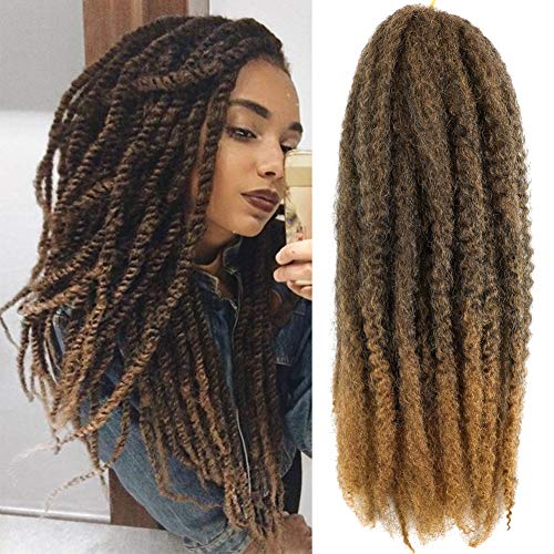 6packs Marley Hair for Twists 18 Inch Long Afro Kinky Marley Braid Hair Kanekalon Synthetic Fiber Marley Braiding Hair Extensions (18inch, T27)