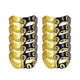 10 Pcs Unisex Retro Masquerade Mask Face Mask Venetian Mask for Fancy Dress Costume Party(Black/Gold)