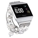 fastgo Compatible for Fitbit Ionic Bracelet Bands, Replacement Band Feminine Handmade Artificial Bling Wristband for Women and Girls(White)