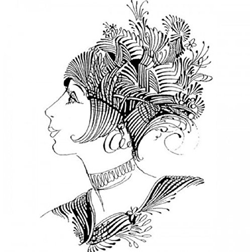 Flapper Elegant Woman Lady Flourishing Quill Stampington And Co Wood Mount Rubber Stamp