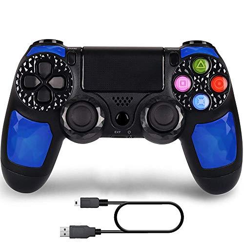 Kabelloser Controller, kompatibel mit PS 4 Play Station 4, aufladbare Fernbedienung, Gamepad mit USB-Kabel (blau)