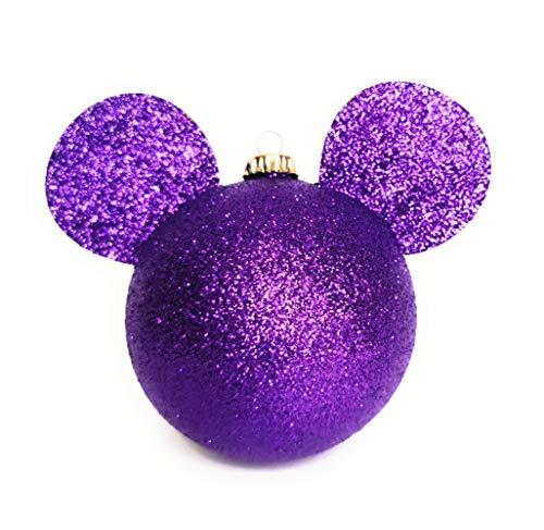 TEQ-ME Esferas Navideñas Mickey Mouse Colores Brillantes Adornos Decoración Árbol Navidad Fiestas y Celebraciones Paquete de 4 pz. (Morado)