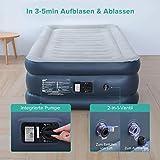Aufblasbare Matratze,Sable Luftbett mit eingebauter elektrischer Pumpe, integrierte erhöhte aufblasbare Matratze für Übernachtungsgäste, geeignet für Twin Size für 1 Person - 203 x 99 x 46 cm - 6
