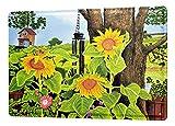 Blechschild Flora Blumen Deko Sonnenblumen Baum Windspiel Metallschild 20X30 cm