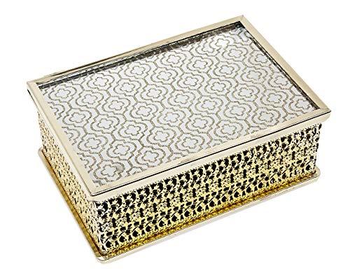 Philip Whitney Metal Filigree Gold Metal Trinket Jewelry Box Organizer  8x5