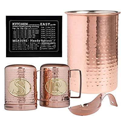 Hammered Copper Kitchen Utensil Holder, Spoon Rest, Salt And Pepper Shakers, Easy Measurement Conversion Guide Copper Kitchen Accessories Set from