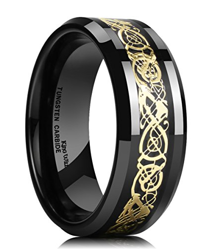 King Will DRAGON 8mm Mens Black Tungsten Ring Glod Celtic Dragon Comfort Fit Wedding Band Engagement Ring 8.5
