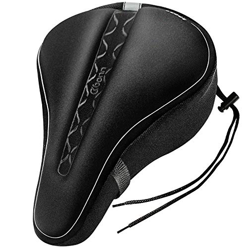 OKBONN Gel Bike Seat Cover - Soft Comfortable Bicycle Saddle Padded - Cycle Saddle Cushion for Women and Men Fits Stationary Mountain and Road Bicycle Padded, Spinning Indoor Outdoor Exercise Cycling