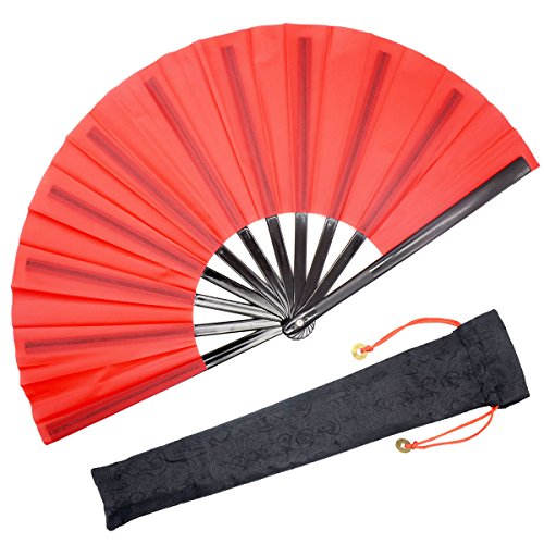 OMyTea Chinese Kung Fu Tai Chi Large Hand Folding Fan for Men / Women - with a Fabric Case for Protection - for Performance / Dance / Fighting / Gift (Red)