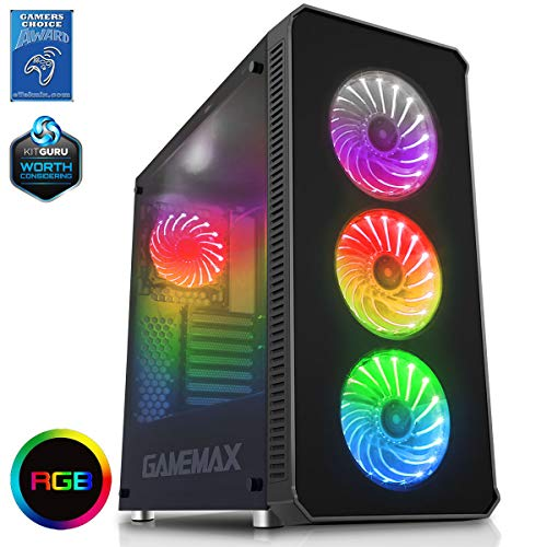 Game Max Monstein Full Tower Fall met 4 x 12 cm RGB ventilator, zwart