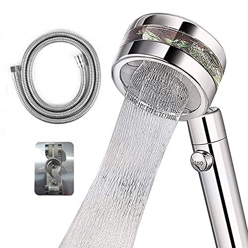 Alcachofa de ducha de mano de alta presión, ahorro de agua, alcachofa de ducha cromada, 2 tipos de chorro, interruptor de encendido/apagado y manguera de 1,5 m.