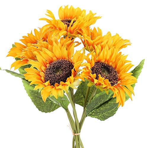 XHXSTORE 6pcs Künstliche Blumen Künstliche Sonnenblumen Kunstblumen Sonnenblumen Plastik Blumen Kunstpflanzen Deko für Draußen Balkon Garten Bad Zimmer Friedhof Tischdeko Dekoration