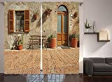 Ambesonne Tuscan Curtains, Medieval Facade Rustic Wooden Door Brick Wall in Small Village, Living Room Bedroom Window Drapes 2 Panel Set, 108' X 84', Cinnamon Tan