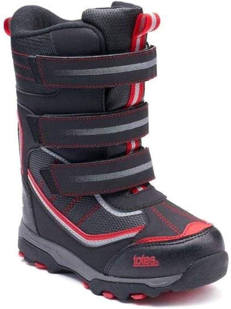 totes Boys Silas Black Re Winter Snow Boots